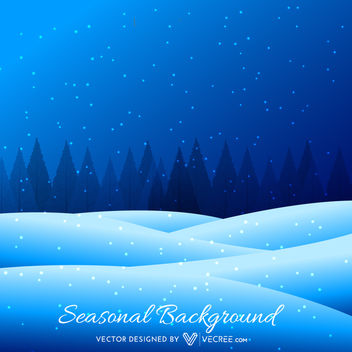 Blue Snowy Seasonal Background with Pine Trees - Free vector #164159