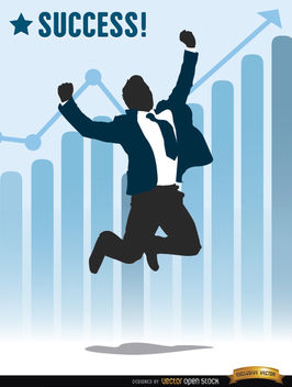Businessman jumping success chart - vector gratuit(e) #164249