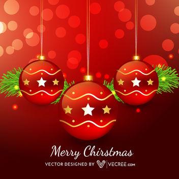 Red Xmas Balls on Bokeh Light Background - vector gratuit #164279