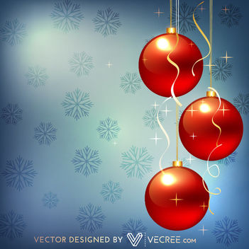 Red 3D Baubles Hanging on Snowflakes Background - vector gratuit(e) #164309