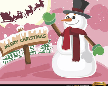 Christmas snowman waving Santa sleigh - Free vector #164349