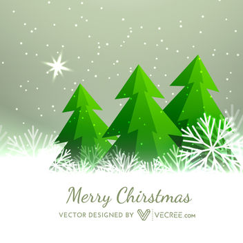 Xmas Background with Trees on Snowflakes - vector #164359 gratis