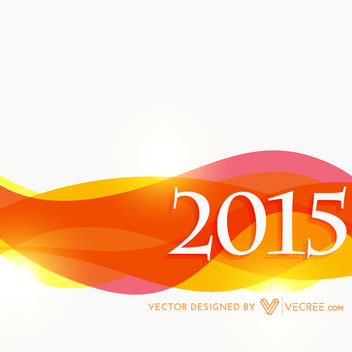 2015 New Year Background with Colorful Waves - vector gratuit #164399