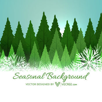 Abstract Xmas Trees on Snowflakes Background - Free vector #164429