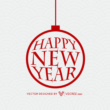 New Year Typography inside Xmas Bauble - Free vector #164439