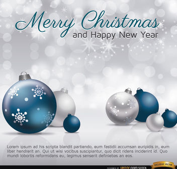 Merry Christmas silver blue balls card - Free vector #164509