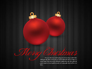 Glossy Red Xmas Balls on Grey Stripy Background - Free vector #164549