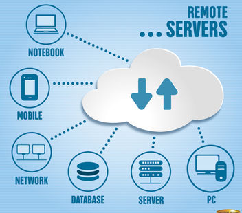 Remote server infographics - vector gratuit #164599