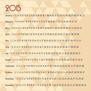 Abstract Triangular Mosaic 2015 Calendar - Free vector #164629