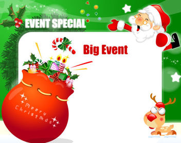 Santa Holding Invitation Card with Gift Pack - Free vector #164649