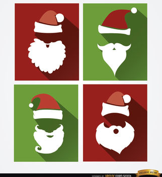 4 Santa hat and beard backgrounds - Free vector #164679