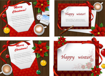4 Stylish Greeting Cards on Wooden Board - vector gratuit #164709