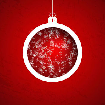 Snowflake Pattern Christmas Ball on Red Background - Free vector #164759