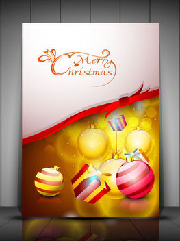 Shiny Stylish Christmas Greeting Card - Free vector #164769