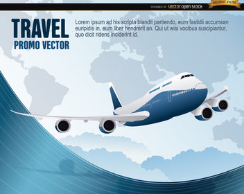 World Travel plane wavy - Free vector #164789