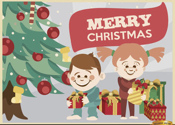 Kids opening Christmas gifts background - vector gratuit(e) #164859