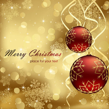 3D Christmas Balls on Gold Background - Free vector #164969