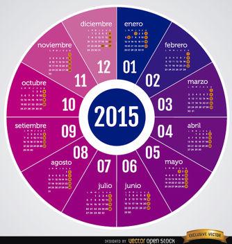 2015 Round calendar Spanish - Kostenloses vector #165029