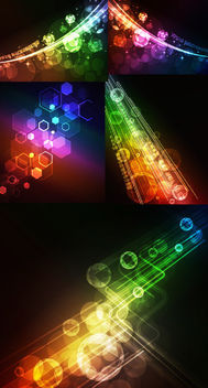 Colorful Bokeh Lights & Hexagons Tech Background Pack - Free vector #165059