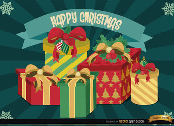 Christmas gifts radial stripes background - vector gratuit #165069