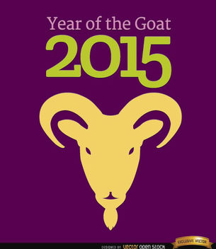 2015 Year of Goat head background - vector gratuit(e) #165129