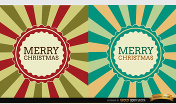 2 Christmas radial stripes label background - Free vector #165199
