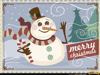 Christmas Snowman background - vector gratuit #165279