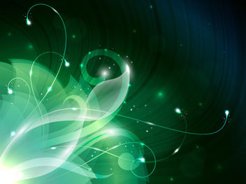 Green Swirly Abstract Floral Corner Background - Free vector #165329