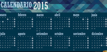 2015 polygonal blue calendar Spanish - Free vector #165359