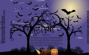 Halloween Poster with Hunted Trees & Bats - vector gratuit #165379