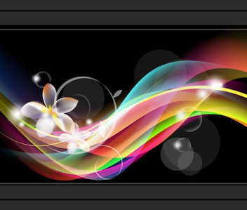 Glossy Colorful Waves White Flower Background - Kostenloses vector #165389