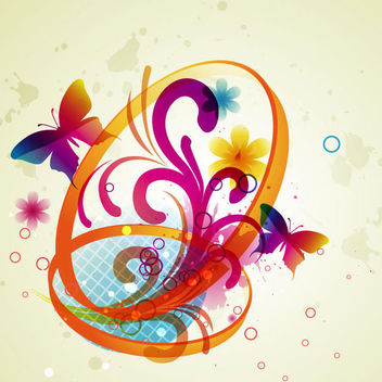 Abstract Butterflies with Floral Swirls & Rings - Free vector #165409