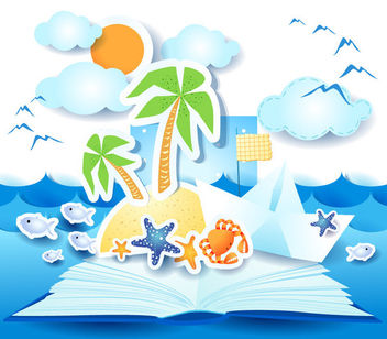 Funky Summer Beach Sticker - бесплатный vector #165439