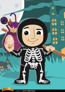 Halloween child skeleton costume - vector #165659 gratis
