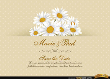 Daisy Floral Wedding Invitation Card - vector gratuit #165819