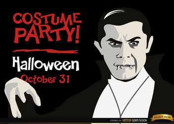 Halloween invitation promo Dracula vampire - Free vector #165929