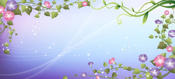 Swirling Floral Frame over Blue Light Background - Free vector #166139