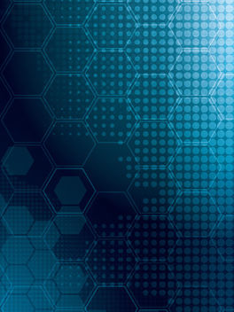 Blue Glow Halftone & Hexagonal Background - Free vector #166339