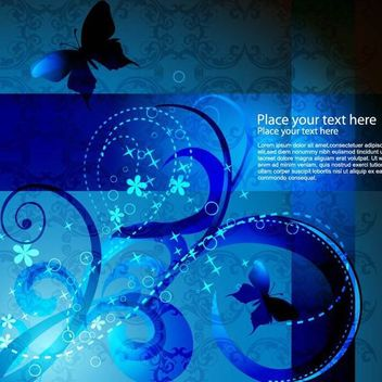 Blue Swirls Abstract Background with Butterfly - vector #166569 gratis