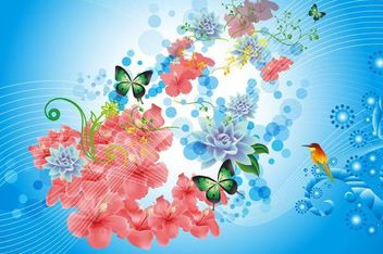 Spring Flower Background with Lines and Bird - vector #166599 gratis