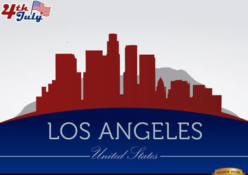 Los Angeles city silhouettes on July 4th - Free vector #166759