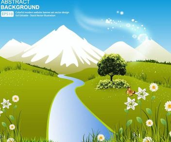 Green Nature Landscape with Hills and River - Free vector #166809