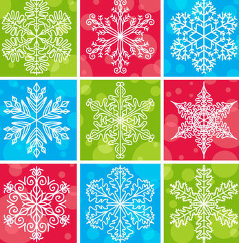 Snowflakes Pack with Bubbles & Different Backgrounds - Kostenloses vector #166959
