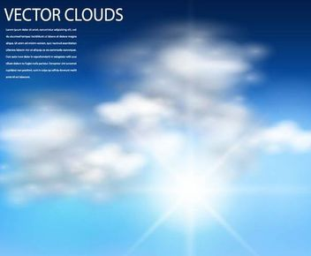 Realistic Sun with Cloudy Sky Background - Free vector #167239