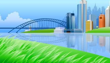 Beautiful Lake Side City - Free vector #167369