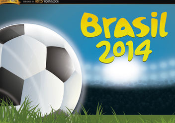 Brasil 2014 Football in grass of field - Free vector #167389