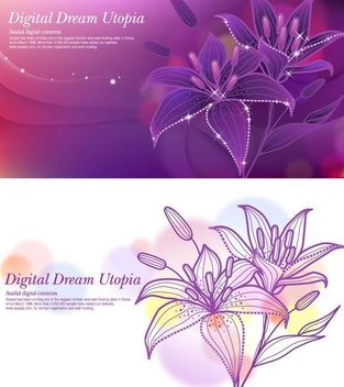 Glowing Full Blossom Lily Background with Waves - vector gratuit #167419