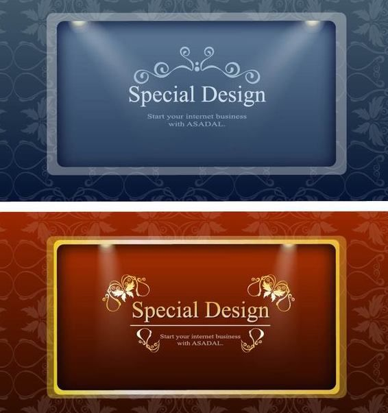 2 Ornamental Banners with Lights - бесплатный vector #167429