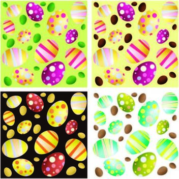 4 Seamless Easter Egg Backgrounds - Free vector #167449