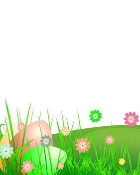 Easter Landscape with Grass & Flower - бесплатный vector #167509